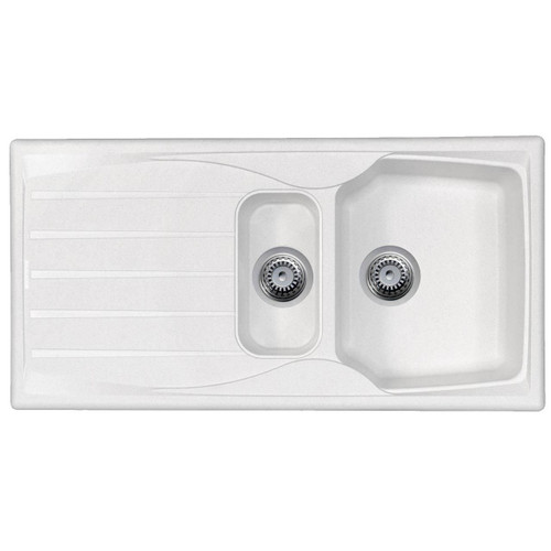 White 1.5 Bowl Kitchen Sink With Reversible Drainer And Strainer Waste Kit