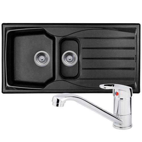 Astracast Sierra 1.5 Bowl Black Kitchen Sink And Franke Zeno Chrome Mixer Tap
