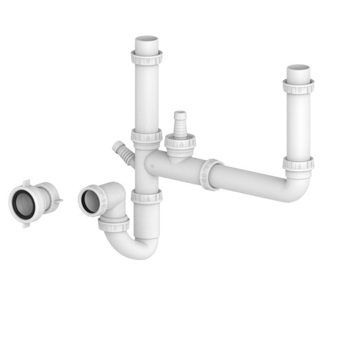 SIA 15PPK Universal Fitting Plumbing Pack With U-Bend For 1.5 / 2.0 Bowl Sinks