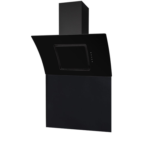SIA 90cm Black Touch Control Curved Angled Cooker Hood Fan And Glass Splashback