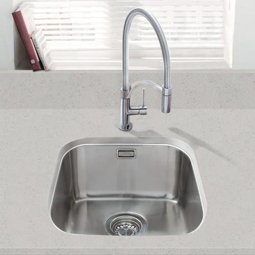 SIA 1.0 Bowl Undermount Stainless Steel Kitchen Sink With Waste Kit W380xD440mm