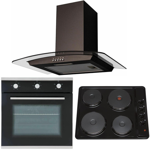 SIA 60cm Black Single Electric Oven, 4 Zone Plate Hob & Curved Glass Cooker Hood