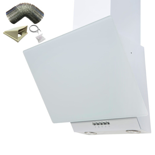 SIA EAG61WH 60cm White Angled Chimney Cooker Hood Extractor Fan & 1m Ducting Kit