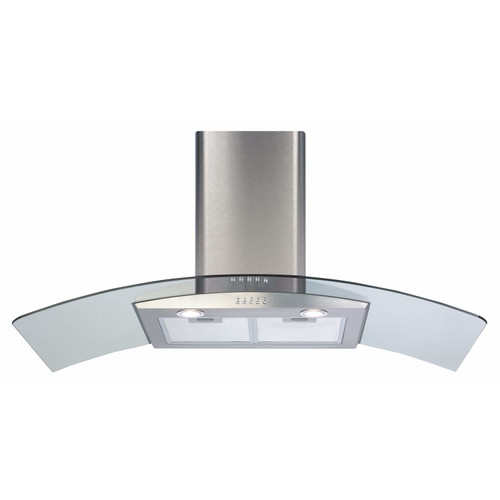 CDA ECP102SS 100cm Stainless Steel Curved Glass Kitchen Cooker Hood Extractor