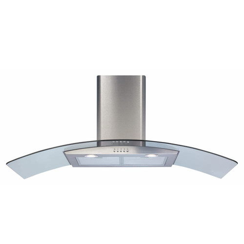 CDA ECP112SS 110cm Stainless Steel Curved Glass Chimney Cooker Hood Extractor