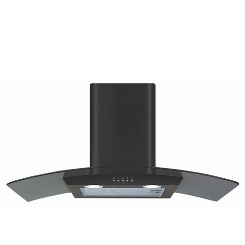 CDA ECP82BL 80cm Black Curved Glass Chimney Cooker Hood Kitchen Extractor Fan