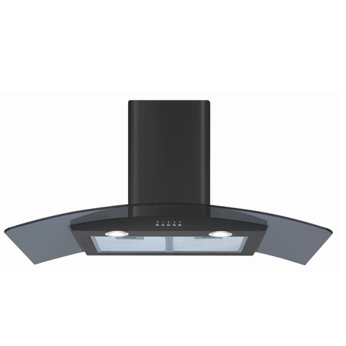 CDA ECP92BL 90cm Black Curved Glass Chimney Cooker Hood Kitchen Extractor Fan