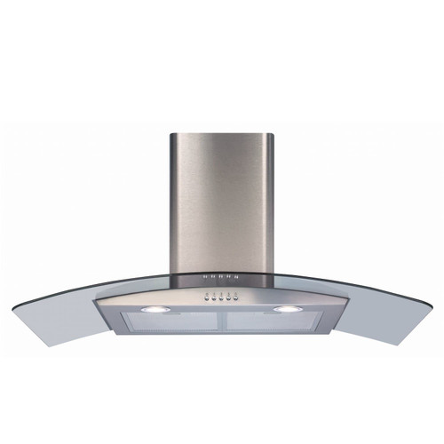CDA ECP92SS 90cm Stainless Steel Curved Glass Kitchen Cooker Hood Extractor Fan
