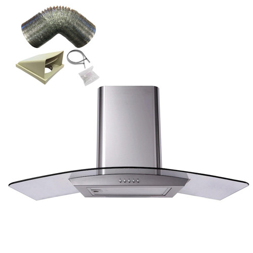 SIA CGH110SS 110cm Stainless Steel Curved Glass Chimney Cooker Hood & 1m Ducting