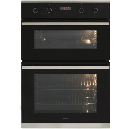 Amica ADC900SS 60cm Black Built In Double Electric Fan LED Touch Control Oven