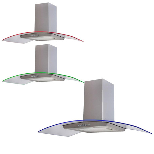 SIA 90cm 3 Colour LED Curved Glass Cooker Hood Extractor Fan In Stainless Steel