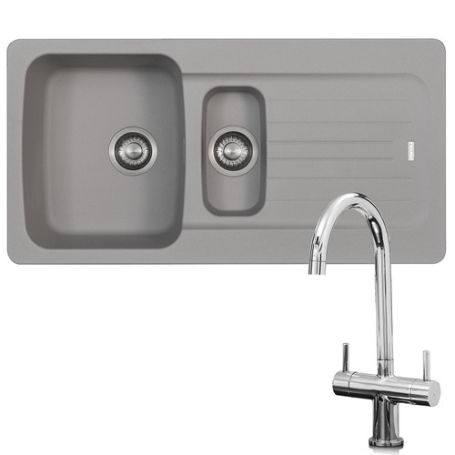 Franke Aveta 1.5 Bowl Stone Tectonite Sink & Modern Chrome Twin Mixer Tap