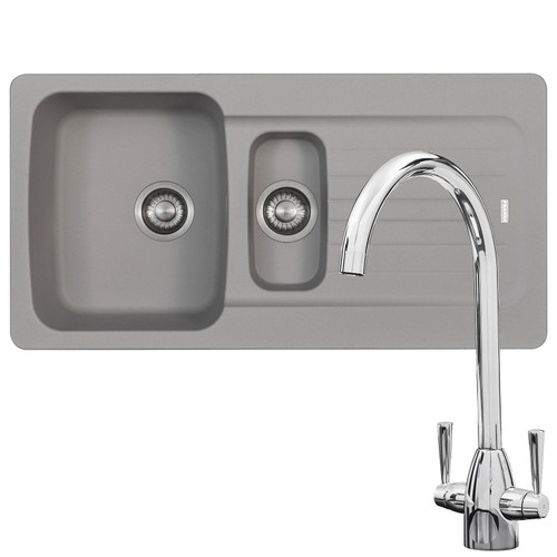 Franke Aveta 1.5 Bowl Stone Tectonite Kitchen Sink & Chrome Mixer Tap