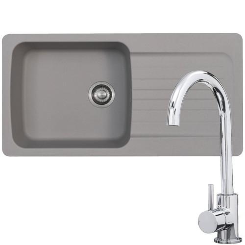 Franke Aveta 1.5 Bowl Stone Tectonite Kitchen Sink & Modern Chrome Mixer Tap