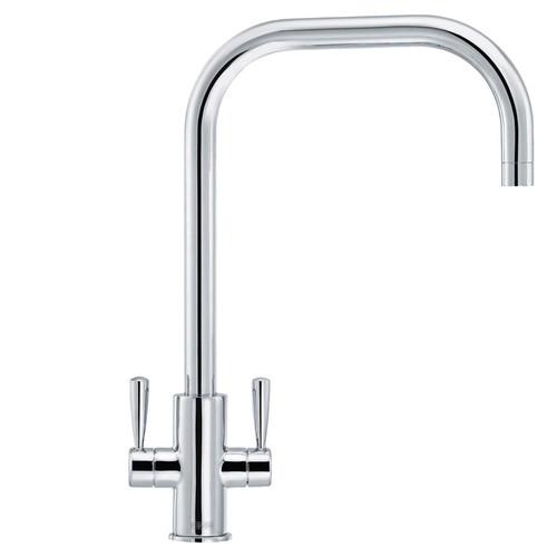 Franke Ascona Chrome U-Spout Twin Lever Modern Monobloc Kitchen Sink Mixer Tap