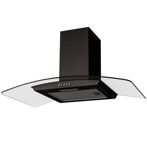 SIA CGH90BL 90cm Black Curved Glass Chimney Cooker Hood Kitchen Extractor Fan