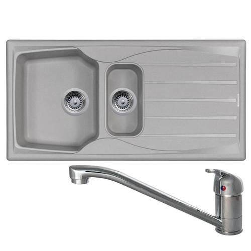Astracast Sierra 1.5 Bowl Light Grey Kitchen Sink And CDA TC10 Chrome Mixer Tap