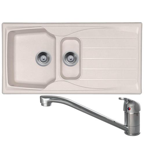 Astracast Sierra 1.5 Bowl Cream Kitchen Sink & CDA TC10 Chrome Swivel Mixer Tap