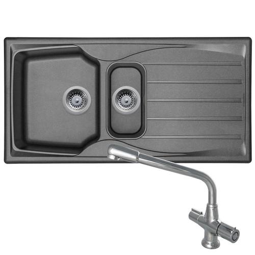 Astracast Sierra 1.5 Bowl Graphite Grey Kitchen Sink & CDA TC20 Swivel Mixer Tap