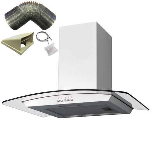 SIA 60cm White Curved Glass Cooker Hood Kitchen Extractor Fan And 1m Ducting Kit