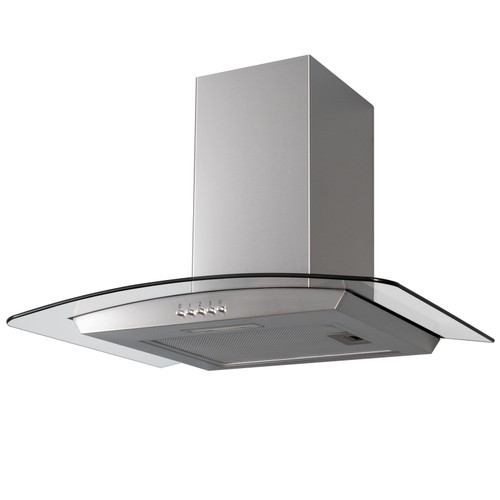 SIA CGH70SS 70cm Curved Glass Stainless Steel Chimney Cooker Hood Extractor Fan