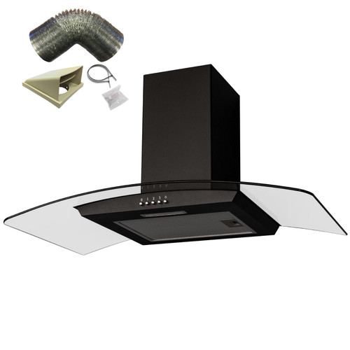 SIA CGH90BL 90cm Black Curved Glass Chimney Cooker Hood Extractor and 3m Ducting