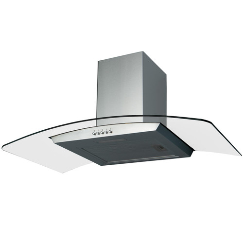 SIA CGH90SS 90cm Curved Glass Stainless Steel Chimney Cooker Hood Extractor Fan