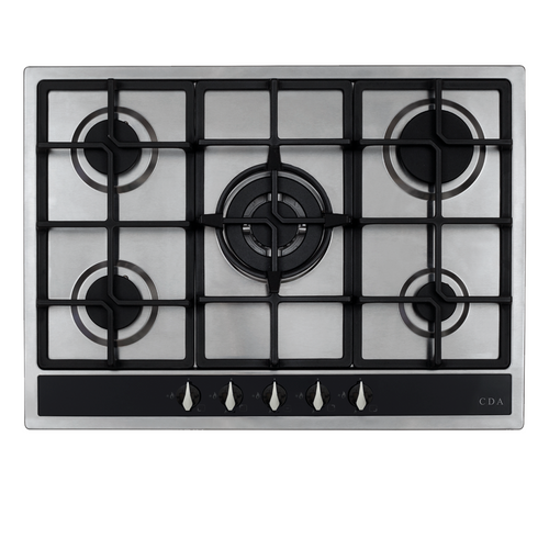 CDA HG7351SS 70cm Stainless Steel 5 Burner Designer Gas Hob | Cast Iron Supports