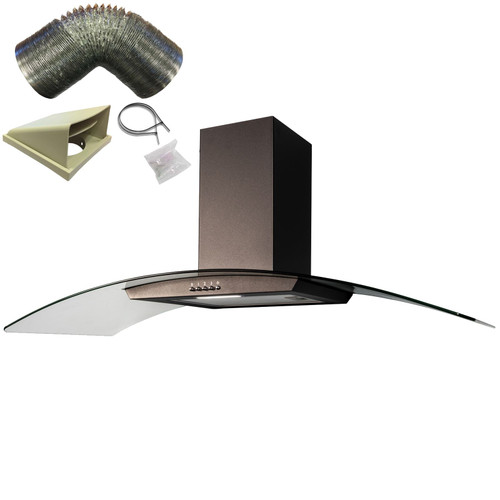 SIA CGH110BL Black 110cm Curved Glass Chimney Cooker Hood Fan And 1m Ducting Kit