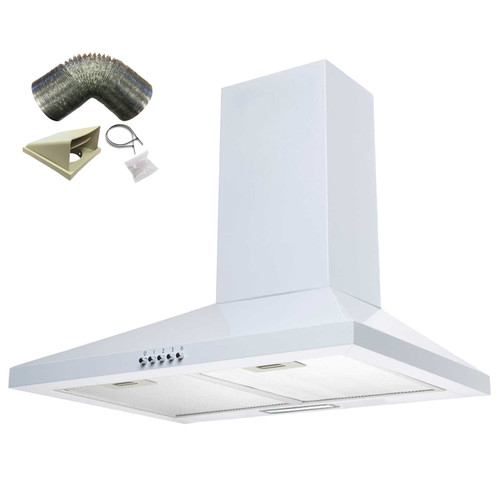 SIA CHL60WH 60cm White Chimney Cooker Hood Kitchen Extractor Fan And 3m Ducting