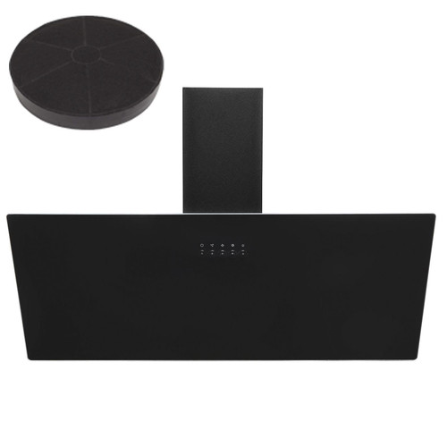SIA AH90BL 90cm Black Angled Glass Chimney Kitchen Cooker Hood Fan & Filter