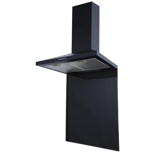 SIA CHL70BL 70cm Black Chimney Cooker Hood Fan And Toughened Glass Splashback