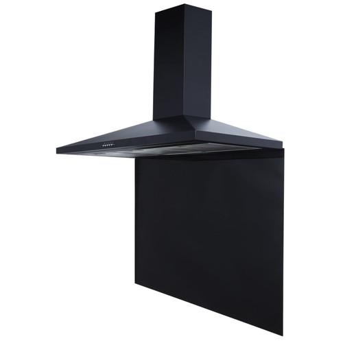 SIA CHL90BL 90cm Black Chimney Cooker Hood Fan And Toughened Glass Splashback