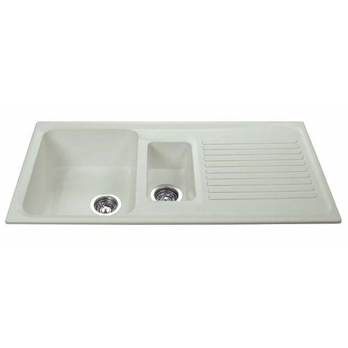 CDA AS2CM 1.5 Bowl Cream Reversible Quartz Composite Kitchen Sink & Waste Kit
