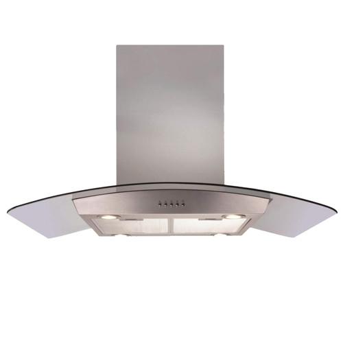 CDA ECPK90SS 90cm Stainless Steel Curved Glass Kitchen Island Cooker Hood Fan