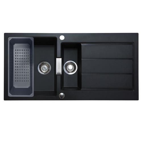 Franke Sirius 1.5 Bowl Black Composite Reversible Kitchen Sink & Colander Basket