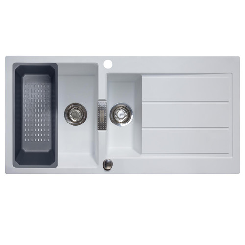 Franke Sirius 1.5 Bowl White Composite Reversible Kitchen Sink & Colander Basket