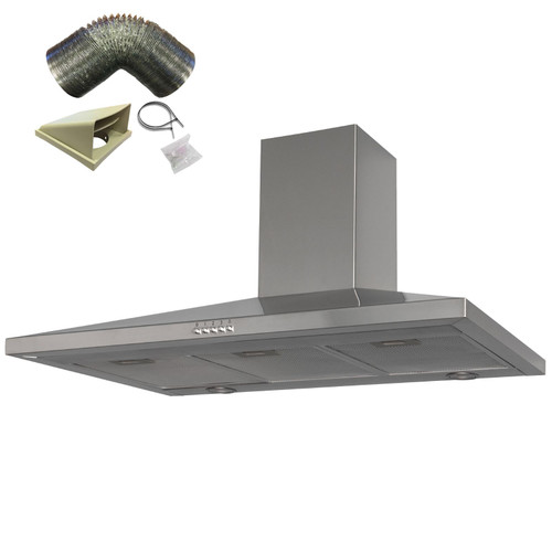 SIA CHL90SS 90cm Stainless Steel Chimney Cooker Hood Kitchen And 3m Ducting Kit
