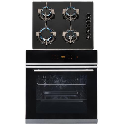 SIA BISO6SS 60cm Black Single Electric True Fan Oven & 4 Burner Gas On Glass Hob