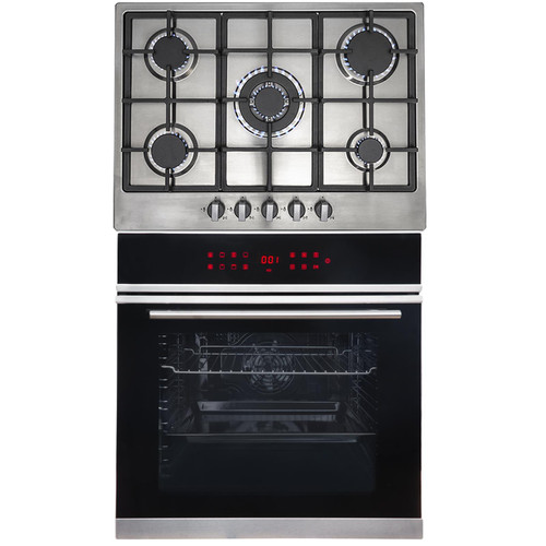 SIA BISO11SS 60cm Black Single Electric Fan Oven & R6 5 Burner Steel Gas Hob