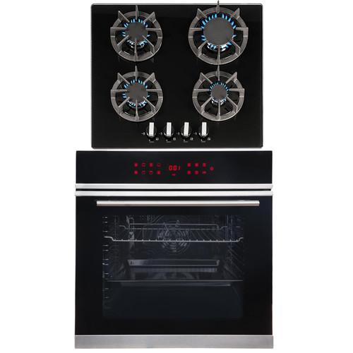 SIA BISO11SS 60cm Black Single Electric True Fan Oven & R7 4 Burner Gas Hob