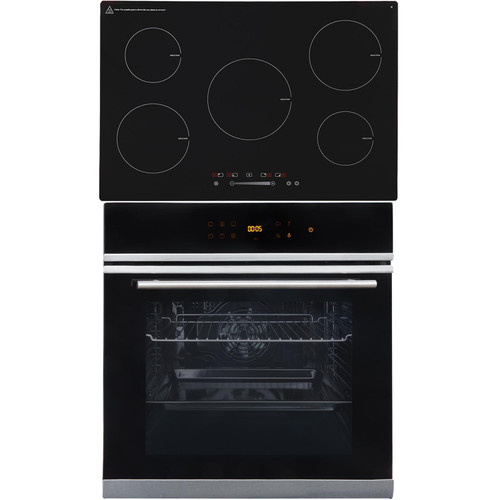 SIA BISO6SS 60cm Black Single Electric True Fan Oven & 5 Zone Induction Hob