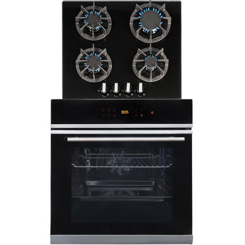 SIA BISO6SS 60cm Black Single Electric True Fan Oven & R7 4 Burner Gas Glass Hob