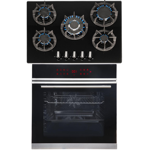 SIA BISO12PSS 60cm Black Pyrolytic Single Electric Oven & R8 70cm Gas Glass Hob