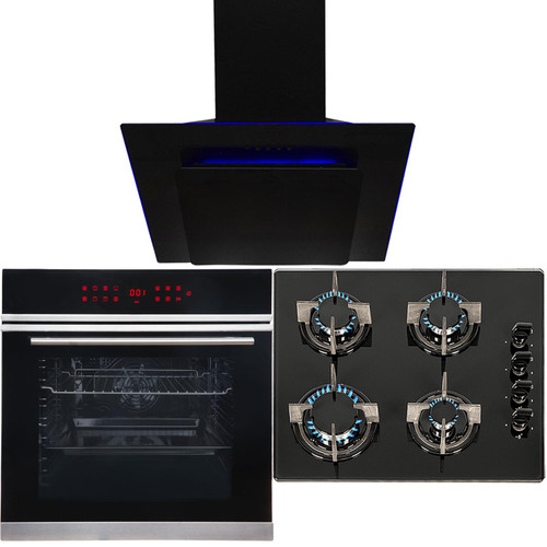 Black Touch Control 13 Function Single Oven, 4 Burner Gas Hob & Angled LED Hood