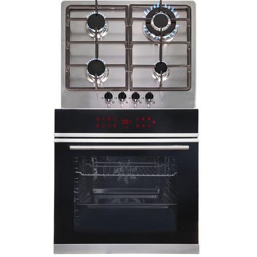 SIA BISO12PSS 60cm Black Pyrolytic Single Electric Oven & 4 Burner Steel Gas Hob