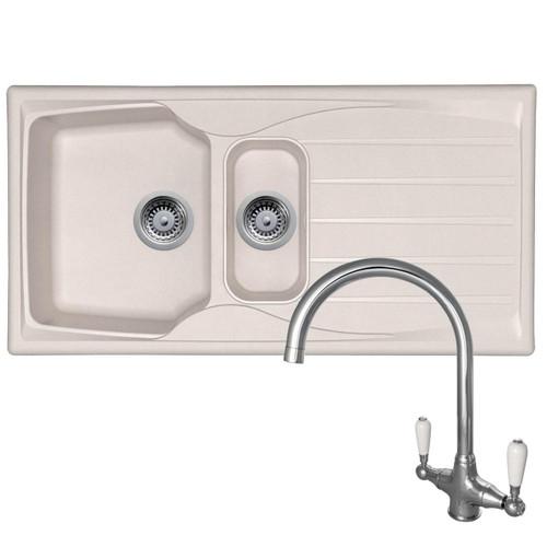 Astracast Sierra 1.5 Bowl Cream Kitchen Sink And Reginox Elbe Chrome Mixer Tap