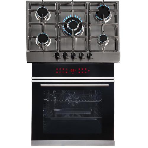 SIA BISO11SS 60cm Black Single Electric True Fan Oven & 5 Burner Steel Gas Hob