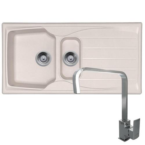 Astracast Sierra 1.5 Bowl Cream Kitchen Sink & Reginox Astoria Chrome Mixer Tap