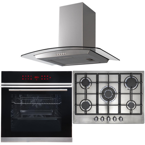 13 Function Single Oven, 70cm 5 Burner Stainless Gas Hob & Curved Cooker Hood